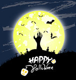 Halloween night background with hand and bird