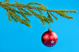 fir branches and Christmas ball