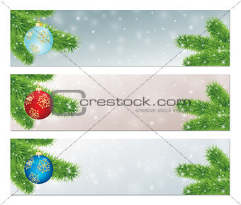 christmas banners with balls