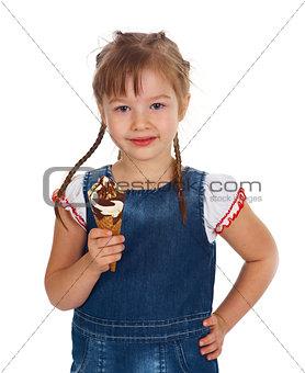 caucasian girl eating ice-cream