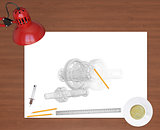 Engineering drawing and office supplies on background of wooden table