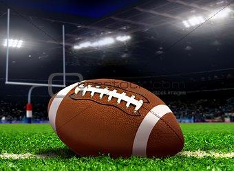Football Ball on Grass in Stadium