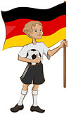 German soccer player holding ball and flag