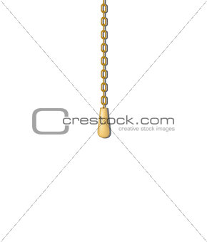 Old pull handle hanging on gold chain
