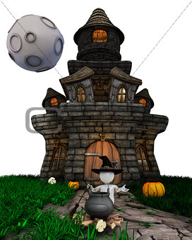 3D Morph Man Witch with haunted house