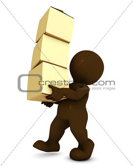 3D Morph Man Carrying Boxes