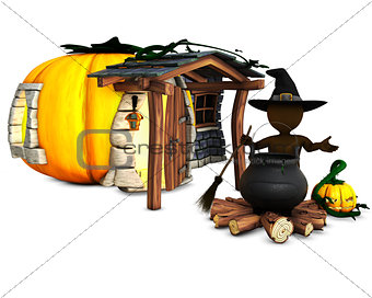 3D Morph Man Witch with cauldron