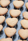 Heart shaped cookies cooling off on metal grid