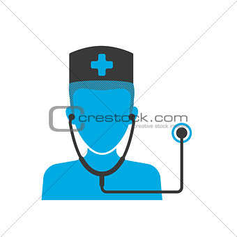 Blue icon of doctor