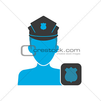 Blue icon of policeman
