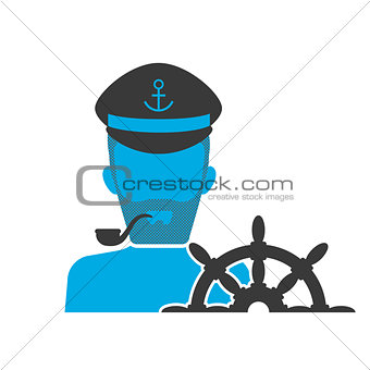 Blue icon of captain