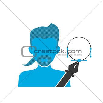 Blue icon of illustrator