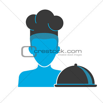 Blue icon of restaurant chef