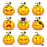 Set of pumpkin smiles for Halloween