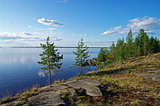Rocky shore of a lake.