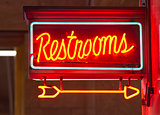 Red Neon Restrooms Sign Indoor Signage Arrow Pointing