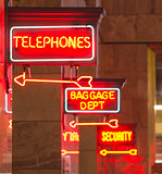 Red Neon Sign Indoor Depot Signage Arrow Points Baggage Telephon