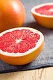 sliced red grapefruit