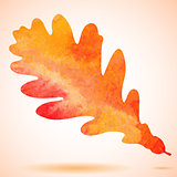 Orange watercolor painted vector autumn oak leaf background