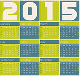 2015 calendar design with color rectangles