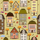 Seamless pattern with autumn city. Vector decorative timber frame houses under falling leaves. City district