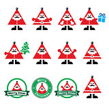 Santa Claus icons, Merry Christmas icon labels