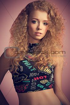 portrait of curly beauty young girl