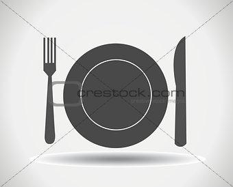 Fork, plate and knife vector illustration