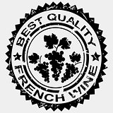 Grunge stamp, quality label for French wine