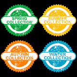 Grunge stamps with collections for each seasons