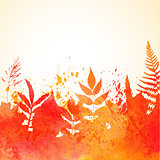 Orange watercolor painted vector autumn foliage background