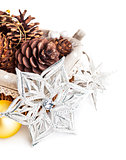 christmas decoration with pinecone in basket