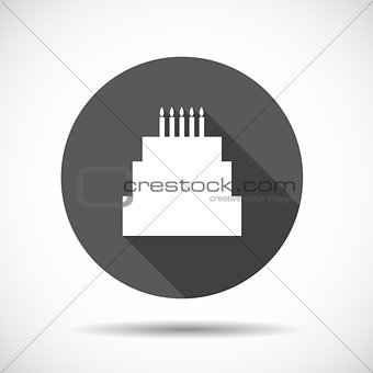 Cake  Flat Icon with long Shadow. Vector Illustration.