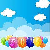 Color Glossy Balloons 2015 New Year Background Vector Illustrati