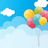 Color Glossy Balloons Against Blu Sky Background Vector Illustra
