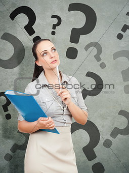 business woman with a blue folder questionmark