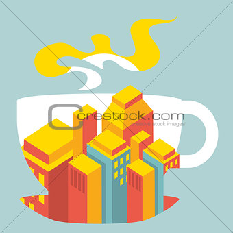 city buildings inside the cup of coffee