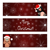 Xmas banners set with cat and dog wish you a Merry Christmas