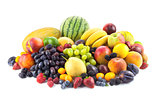 Big assortment of Fresh Organic Fruits isolated on white
