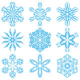 Set of blue snowflakes, elements for design.