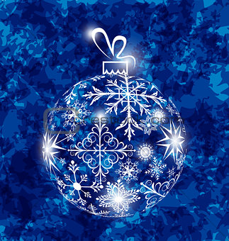 Christmas ball made in snowflakes on grunge background