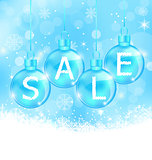 Christmas background with balls lettering sale