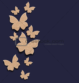 Carton paper butterflies with copy space