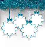 Set Christmas paper snowflakes with copy space for your text