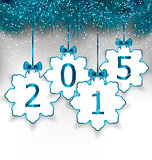 New Year paper snowflakes with bows