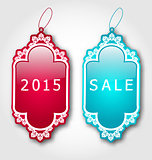Christmas colorful discount labels with shadows