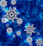 Christmas set snowflakes on dark blue grunge background