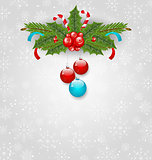 Christmas background with balls, holly berry, pine and sweet can