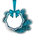 Xmas gift card with ribbon and fir branches