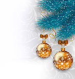 Christmas background with glass balls and fir branches